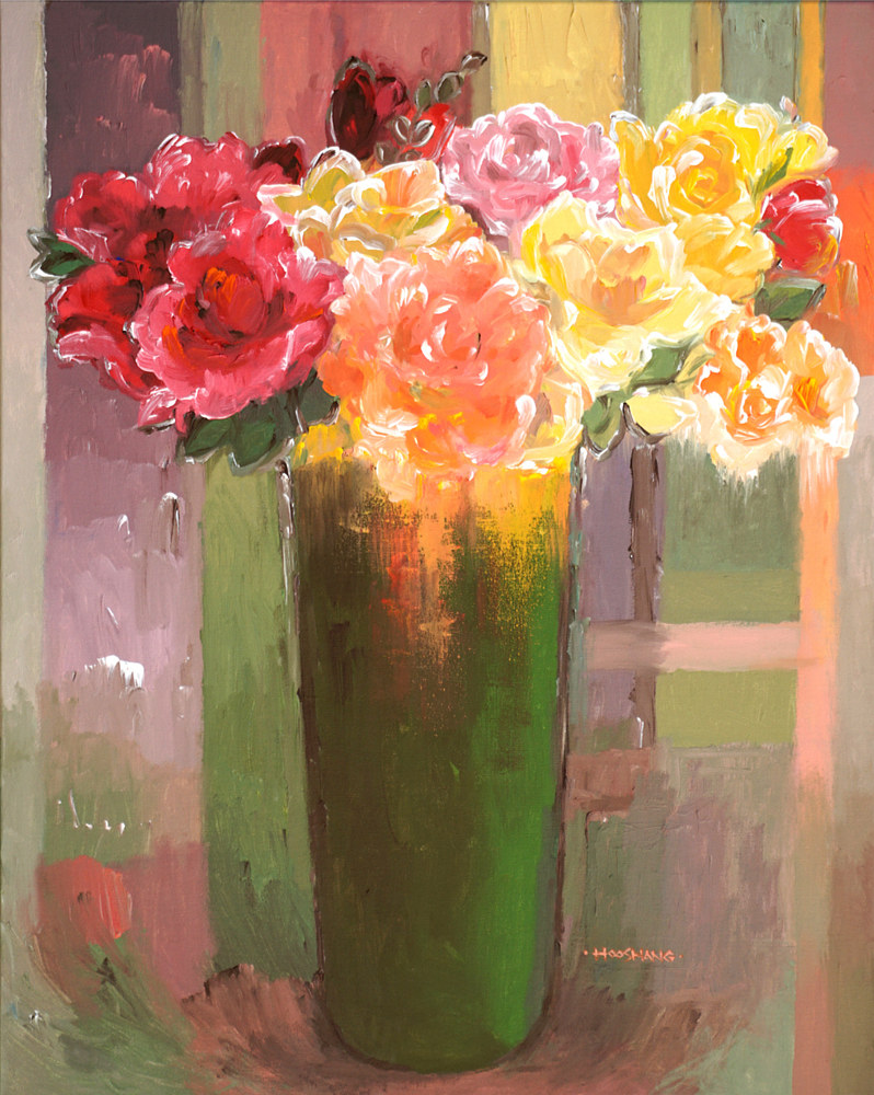 Romantic Roses, 24x30 inches, acrylic on canvas-3 by Hooshang Khorasani