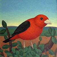 Scarlet Tanager by Adrienne Noble