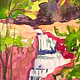 Watercolor Tiny 4x6 waterfall watercolor: Sanctuary II by Pamela Neswald