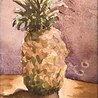 Watercolor Tiny 4x6 watercolor pineapple:  Ka Hal Kahiki (pineapple) by Pamela Neswald