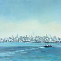Oil painting NYC View from the Whitestone by Elizabeth4361 Medeiros