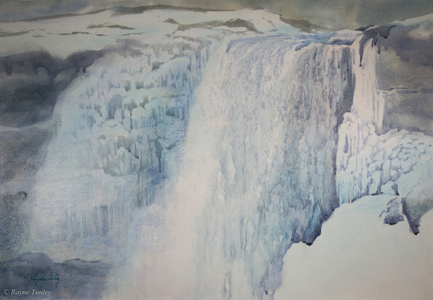 Rayne Tunley, Winter Serenade, Niagara Falls, 18in x 26in, watercolour by Rayne Tunley