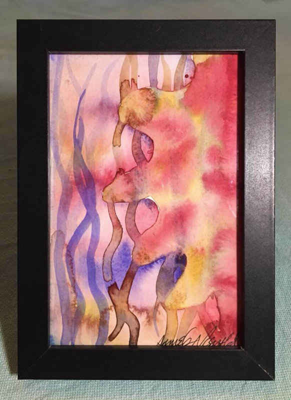 Watercolor Tiny 4x6 surreal watercolor: Undersea by Pamela Neswald