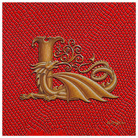 Dragon monogram L, gold on Scarlet Dragon Skin by Sue Ellen Brown