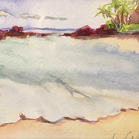 Watercolor Tiny 4x6 Maui watercolor:  Po'olenalena by Pamela Neswald