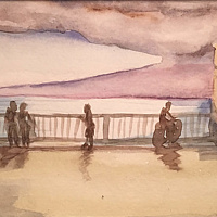 Watercolor Tiny 4x6 Lahaina watercolor:  Front Street by Pamela Neswald