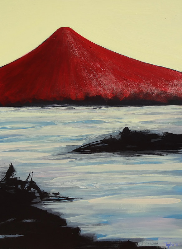Acrylic painting Red Fuji #2 by David Tycho