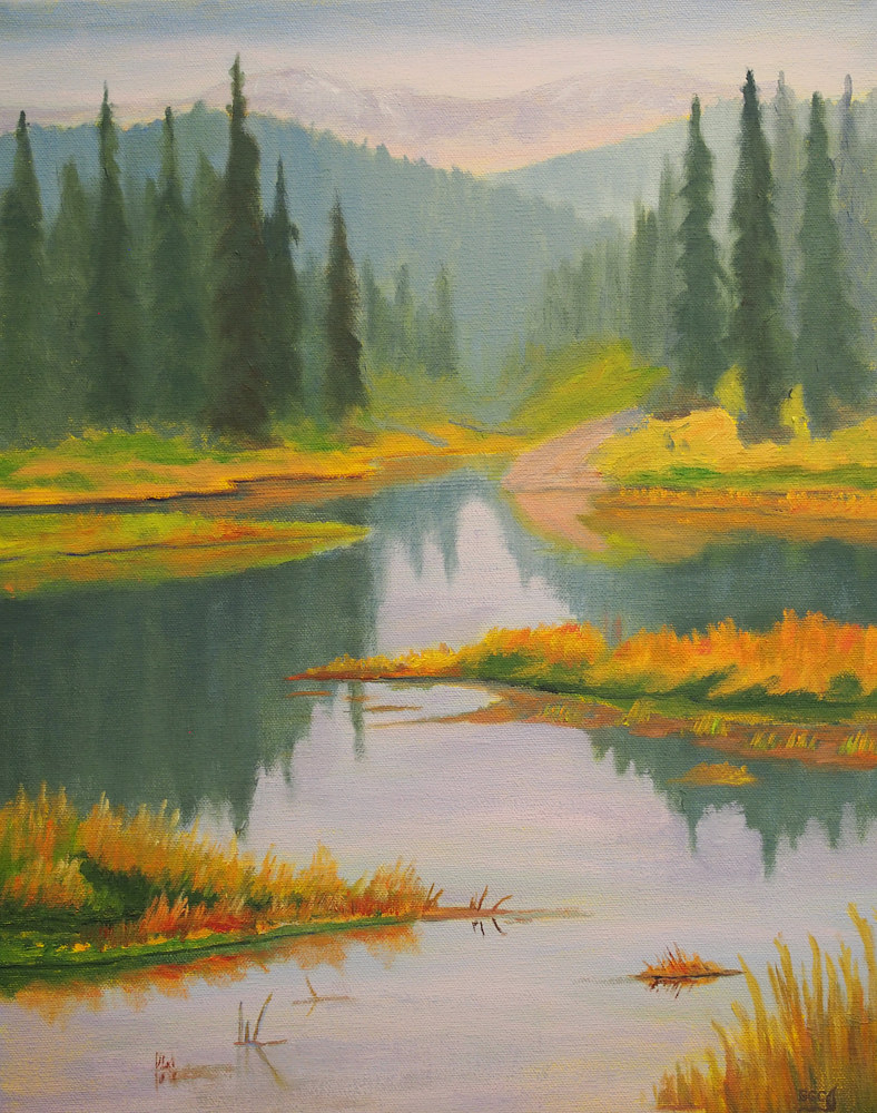 Oil painting Mclean Pond by Brent Ciccone