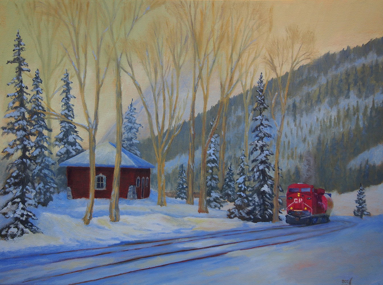 Oil painting Starting the Big Hill by Brent Ciccone