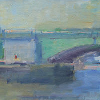 "Painting Prescott Bridge,  oil on canvas, 12"" x 24"" by Susan Horn"