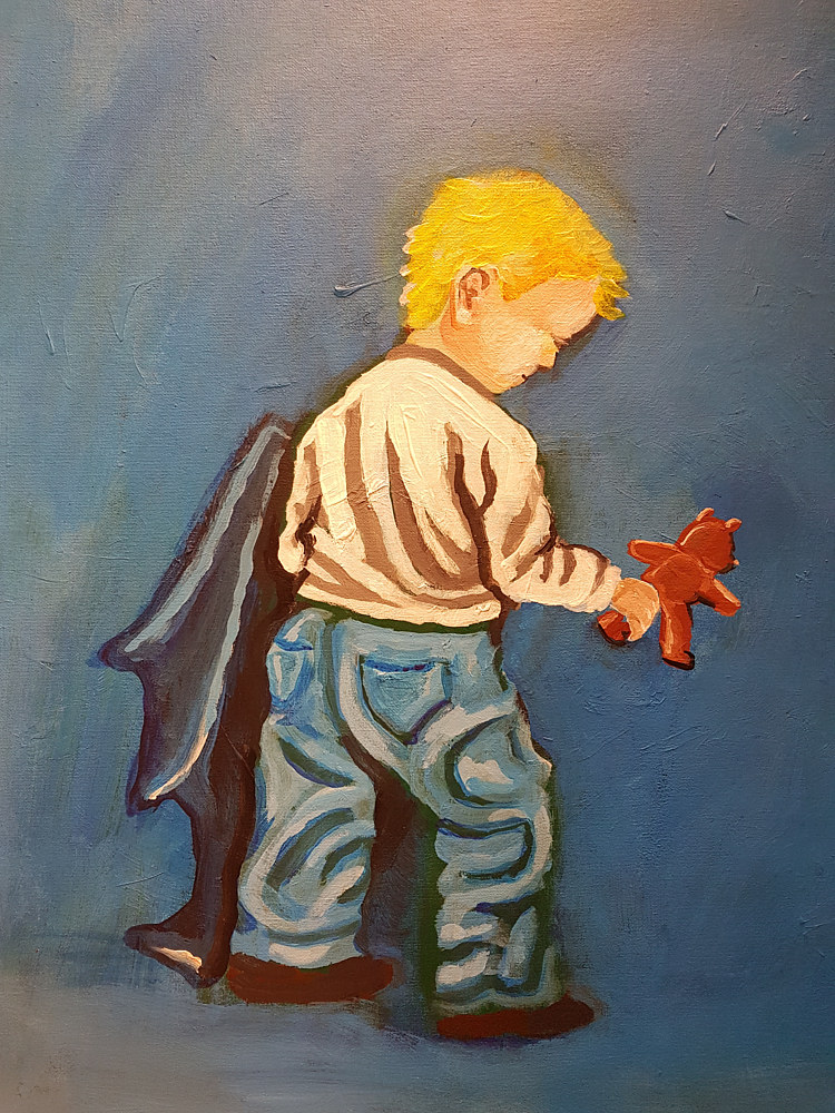 Acrylic painting Little Boy Blue by Ashley F Nitkin
