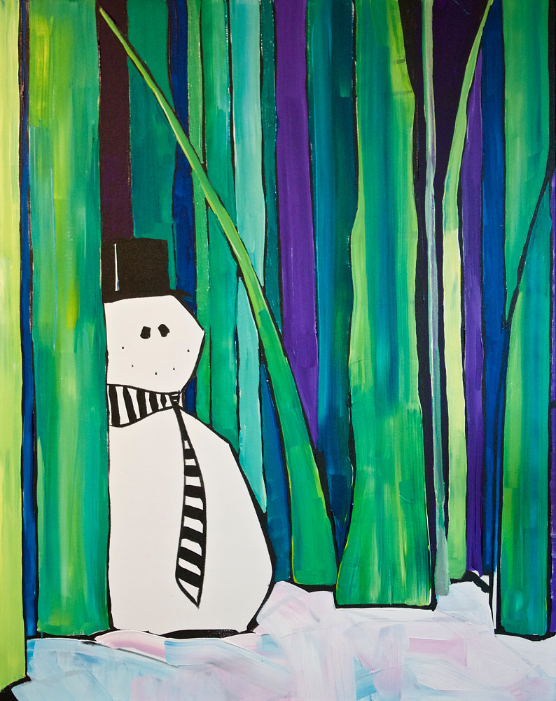 Acrylic painting snowman by Donna Howard