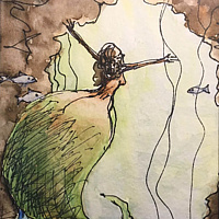 Watercolor Tiny 4x6 mermaid watercolor: Mermaid with a Big Butt  by Pamela Neswald