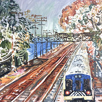 Oil painting Passing Train/November Song by Edward Miller