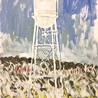 Oil painting Watertower Sketch by Edward Miller