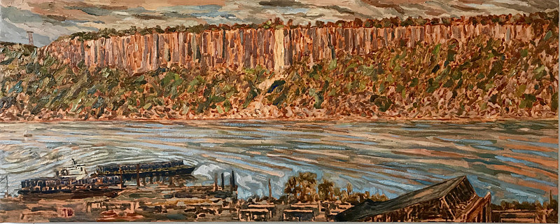 Oil painting Palisades with Building 52 Remnant by Edward Miller