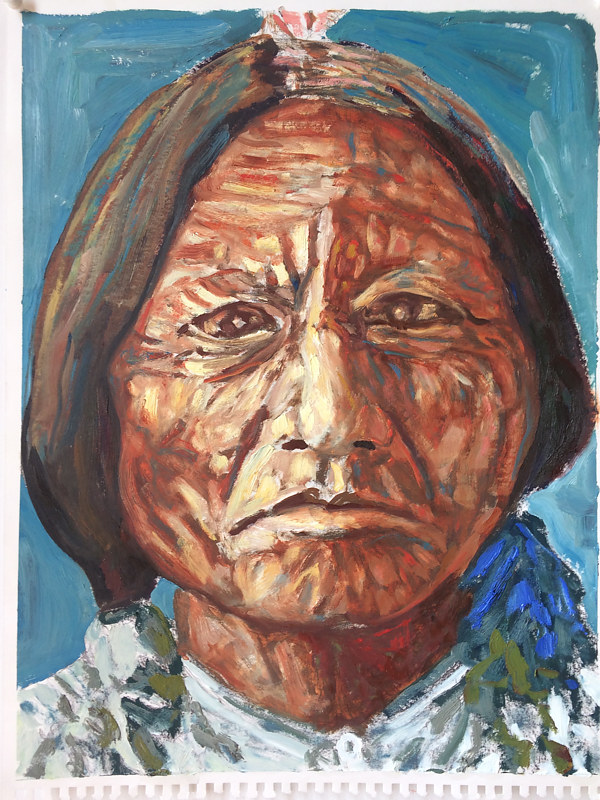 Oil painting Sitting Bull #2 by Edward Miller