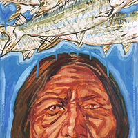 Oil painting Sitting Bull and Shad by Edward Miller