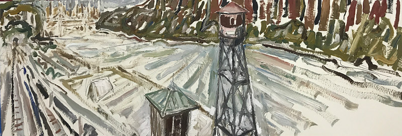 Oil painting Tower and Station Sketch by Edward Miller