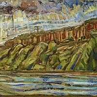 Oil painting Palisades Triptych by Edward Miller