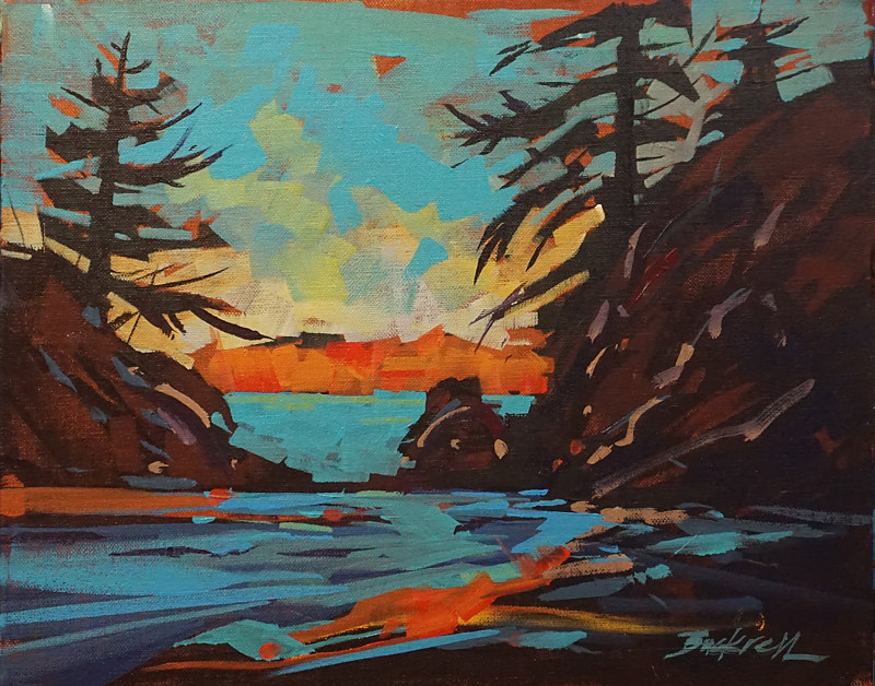 Island in Orange   Acrylic 11x14 2017 by Brian  Buckrell