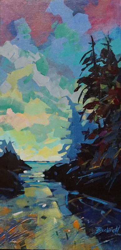 Our Tofino Evening Acrylic 12x24 2017 by Brian  Buckrell