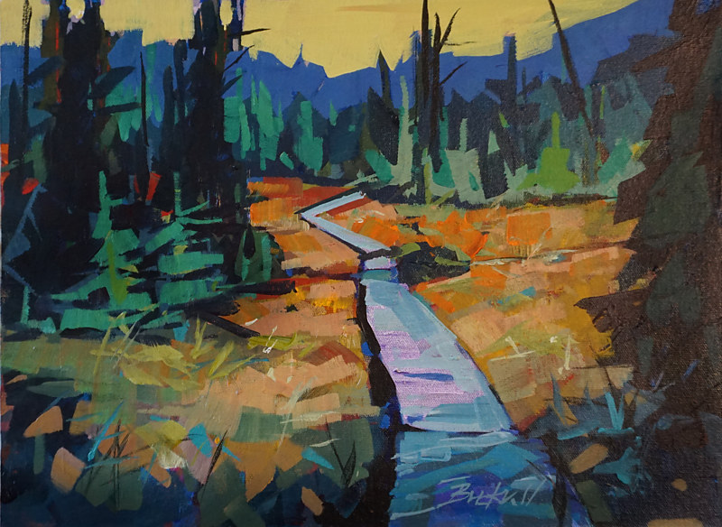 Walk in the Park Strathcona Acrylic 12x16 2017 by Brian  Buckrell