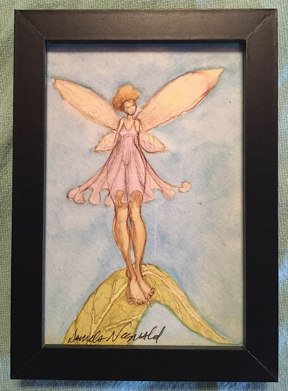Watercolor Tiny 4x6 fairy watercolor: Twingle by Pamela Neswald