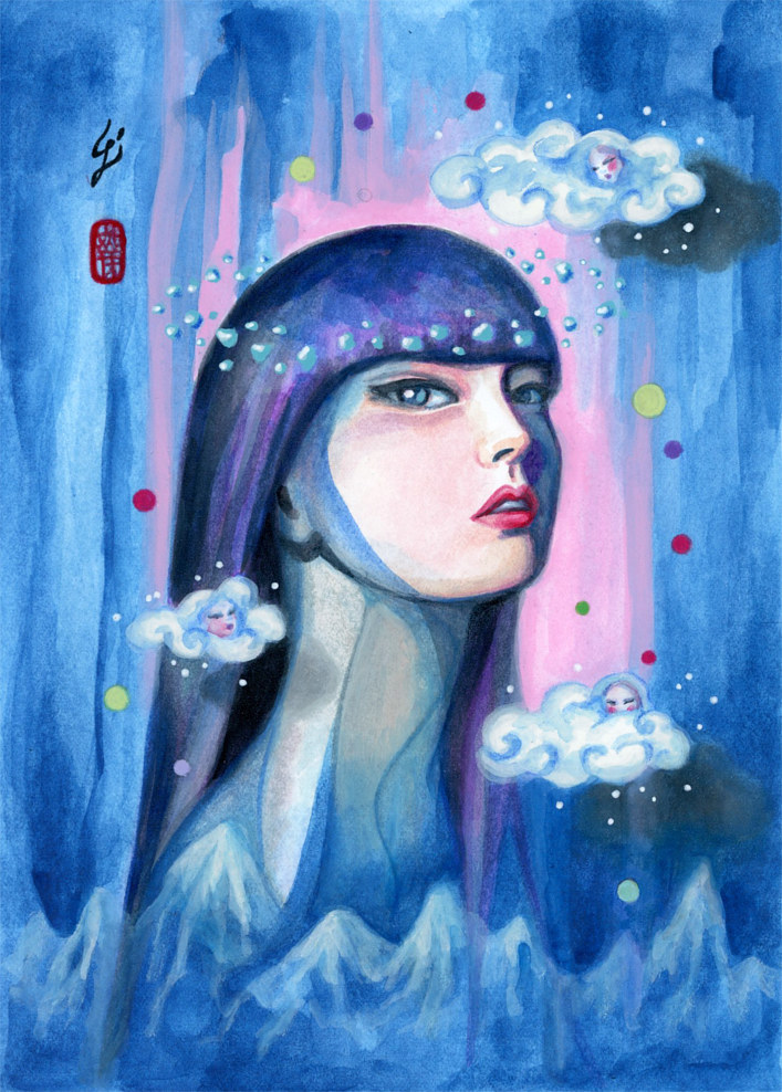 Mixed-media artwork Azure by Carolina Seth