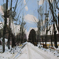 Acrylic painting Snow Day, Home Gate by Harry Stooshinoff