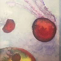 Watercolor Tiny 4x6 jellyfish watercolor: Jellies in Outer Space by Pamela Neswald