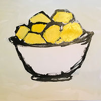 Acrylic painting Lemons with White Bowl by Sarah Trundle