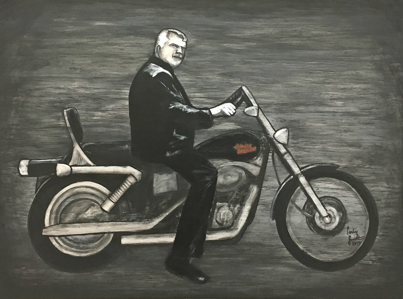 Acrylic painting DAD'S BIKE by Carly Jaye Smith