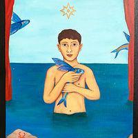 Oil painting Boy with flying fish  by Armando Huerta