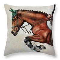 Painting The Jumper Throw Pillow by Debbie Hart