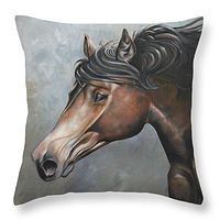 Print The Fiery Andi Pillow by Debbie Hart