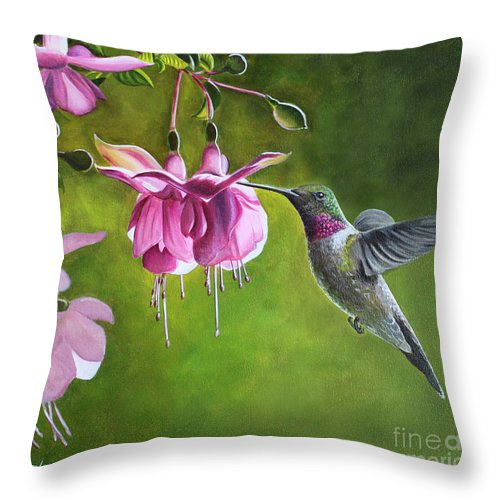 Print hummingbird-and-fuschia-debbie-hartpillow by Debbie Hart