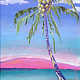 Oil painting Makemake i nā Niu (the coconuts are yummy) by Pamela Neswald