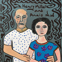 Acrylic painting Henry Miller and Anais Nin by Bernard Scanlan