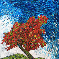 Acrylic painting Red Tree by Bernard Scanlan