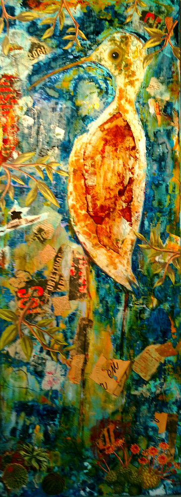 Mixed-media artwork Shore Bird by Deborah J Gorman