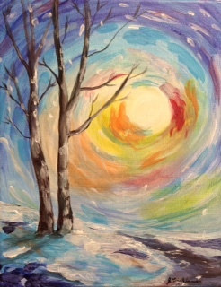 Acrylic painting Winter  by June Long-schuman