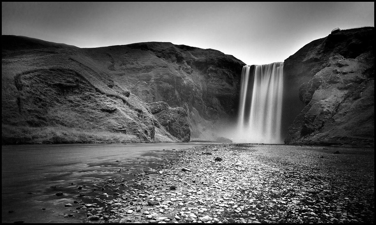 AAA_9178B&W Waterfall Iceland copy by Jim Friesen