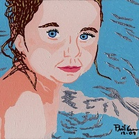 Acrylic painting Amanda Bathtime by Phil Cummings