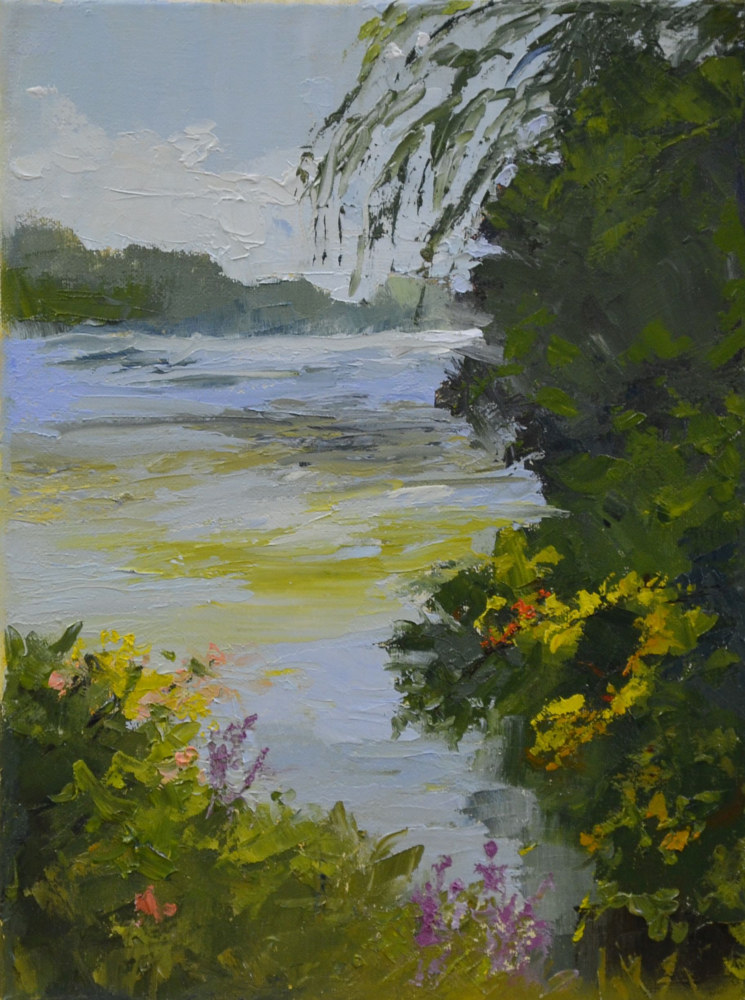 River Rush, 12 x 9, oil on canvas 21-1017 by Patricia Savoie