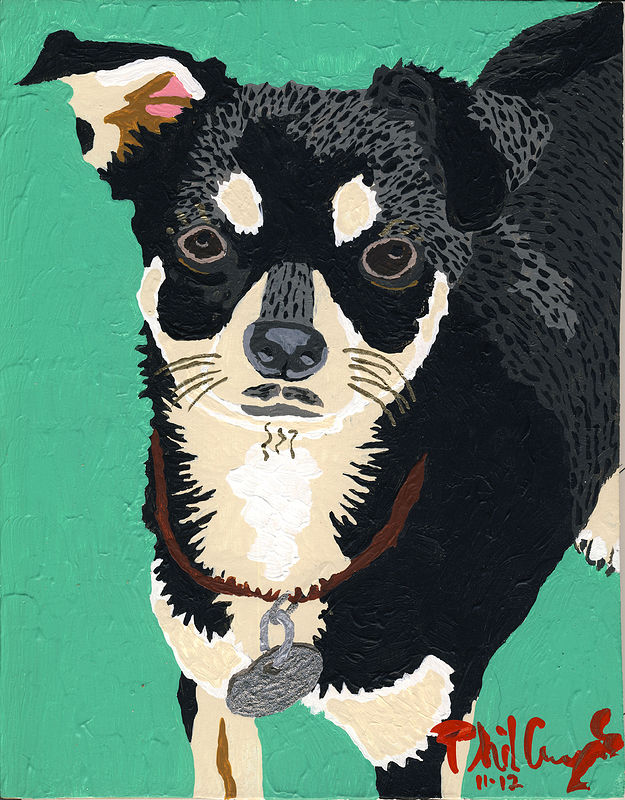Acrylic painting Chico (green) by Phil Cummings