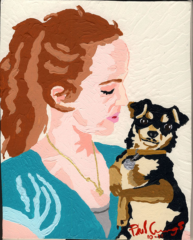 Acrylic painting Katy And Chico by Phil Cummings