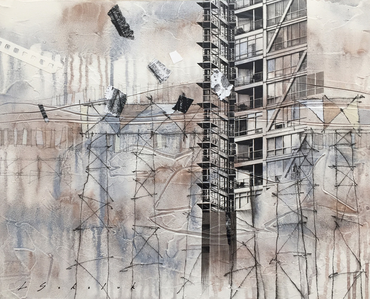 Mixed-media artwork Forces of Progress And Decay by Lori Sokoluk