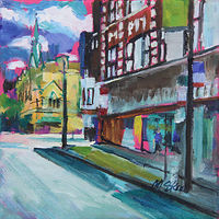 Oil painting greenview, lincoln and barry  by Madeline Shea