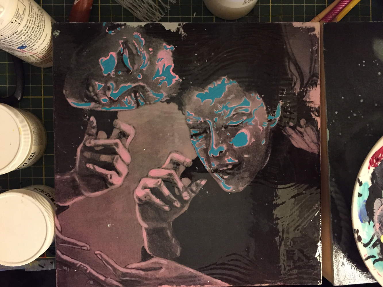 Acrylic painting Bioluminescence in progress by Amber Macgregor